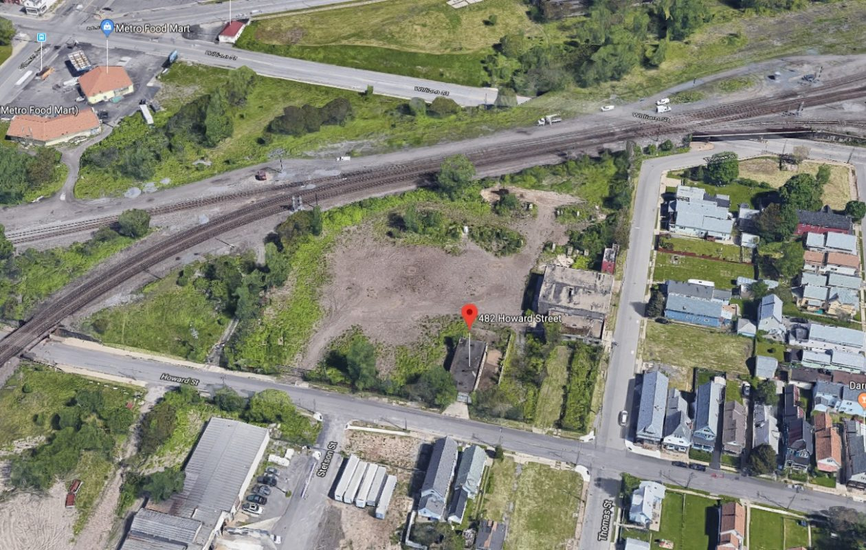 Erik Hansen and Josh Burch want to bring an outdoor paintball facility to this vacant swath of land on Buffalo's East Side. (Google Maps)