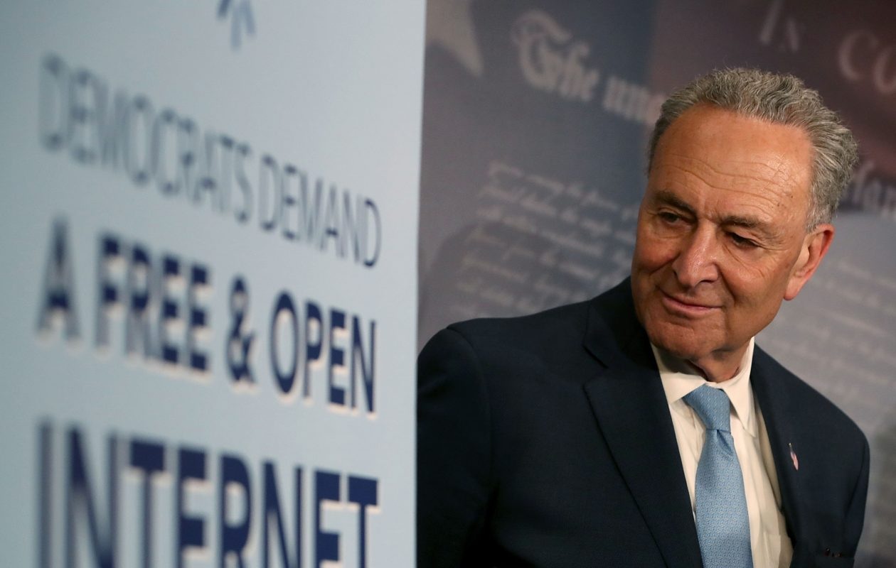 Senate Majority Leader Charles Schumer attends a net neutrality press conference on May 16, 2018, in Washington, D.C. (Getty Images)
