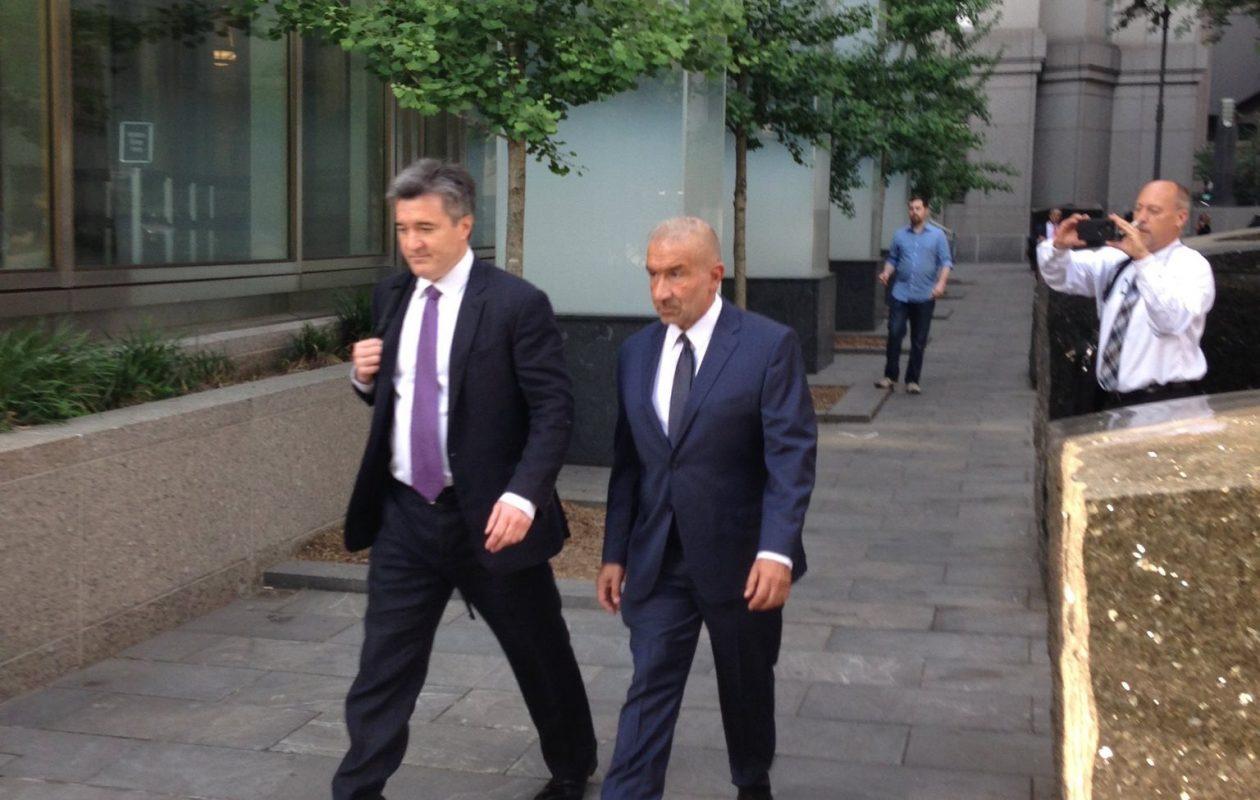 AlainKaloyeros, right, former president of the SUNY Polytechnic Institute, walking into federal court in Manhattan in June. (Phil Fairbanks/Buffalo News)