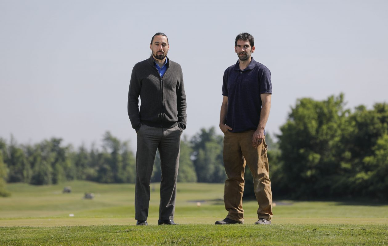 Clinton Holcomb, left, and Lucas James, the new owners of Arrowhead Golf Club, want to attract more techies and families. (Derek Gee/Buffalo News)