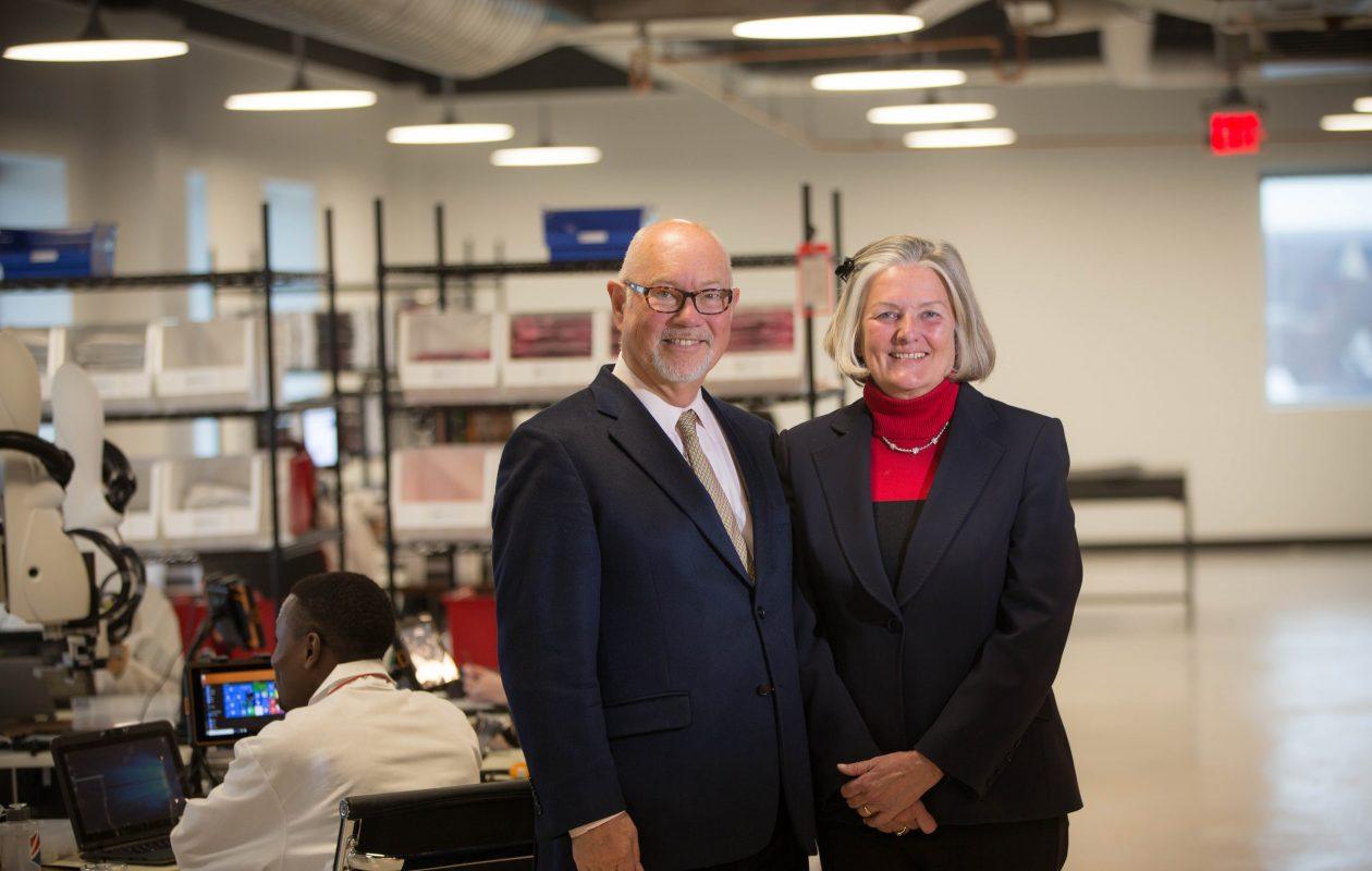 J.P. and Ulla Bak in newly expanded space at the Bak USA facility in Buffalo in this 2017 photo. The company recently terminated 15 employees but said it is financially sound and growing.  (Derek Gee/Buffalo News)