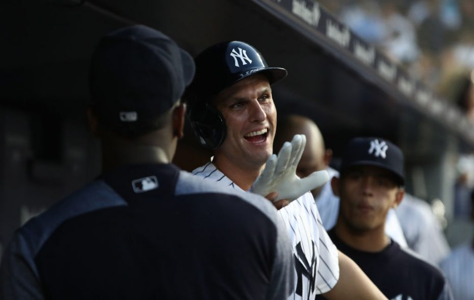 Teammates give it up to Yankees first baseman Greg Bird after one of his two home runs Friday night against the Red Sox (Getty Images).