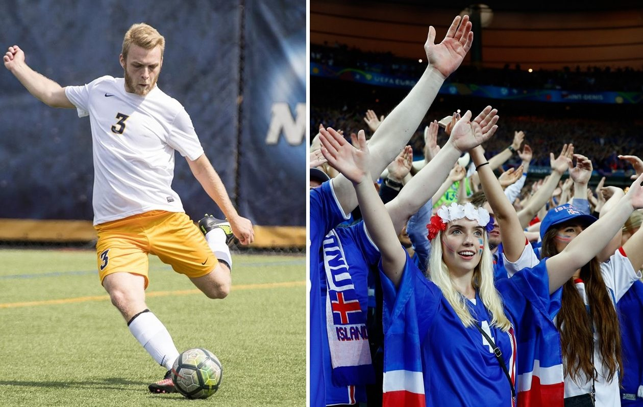 Canisius College defender Bjarki Benediktsson, left, talks with BN Soccer about Iceland men's national team's chances in the World Cup. (via Canisius Athletics; Getty Images, respectively)