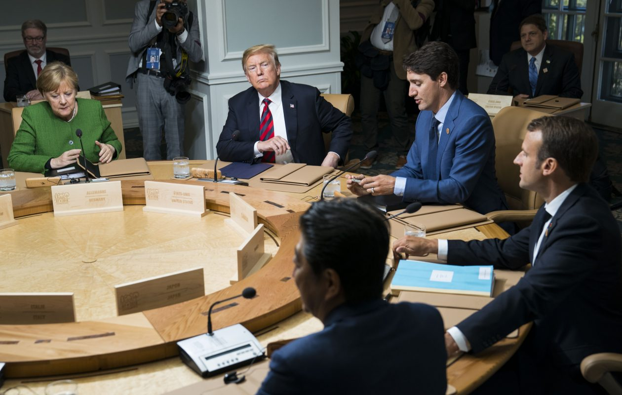President Trump with leaders of other NATO nations at the G-7 summit meeting in La Malbaie, Quebec. Canada is one of NATO's 29 members.(Doug Mills/New York Times)