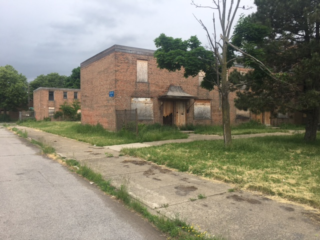 Many of the row house apartments in the Commodore Perry housing complex in Buffalo have been left vacant because the Buffalo Municipal Housing Authority says it lacks the funds to repair them. The complex has 740 apartments, but about 300 are vacant. (Courtesy of Brian Higgins)