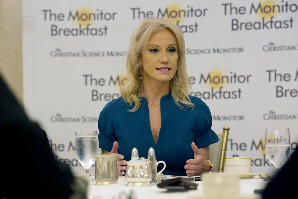 Kellyanne Conway, counselor to President Trump, Wednesday defended the administration's tariffs on Canadian steel and aluminum (Michal Bonfigli/The Christian Science Monitor)
