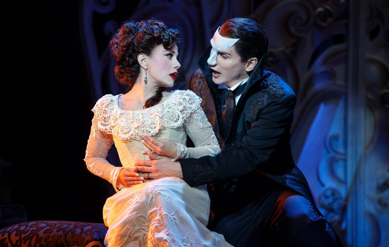 "Meghan Picerno and Gardar Thor Cortes star  in ""Love Never Dies.""  (Photo by Joan Marcus)"