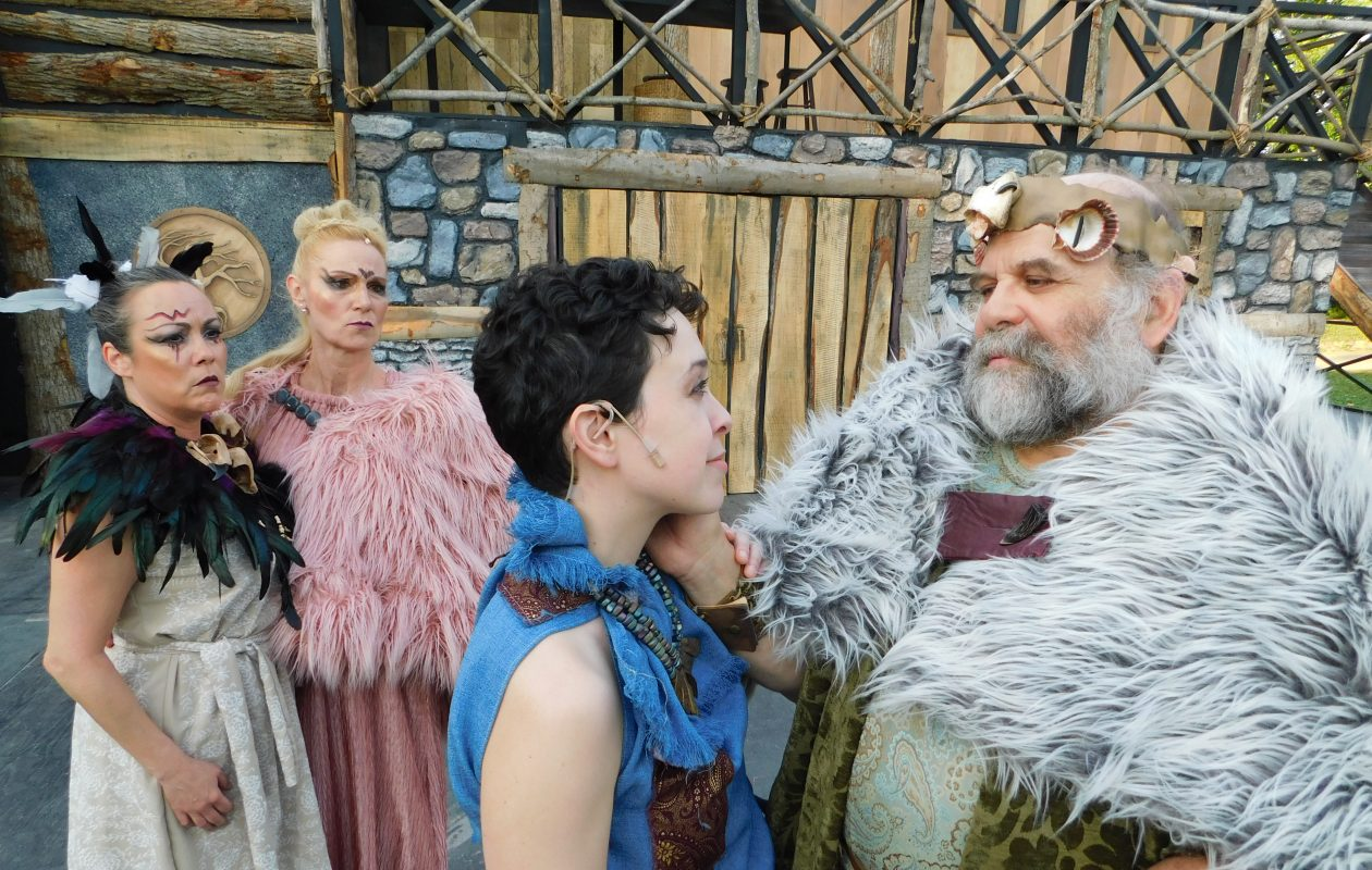 Tom Loughlin stars in Shakespeare in Delaware Park's production of 'King Lear,' appearing with Lisa Vitrano, far left, Lisa Ludwig and Marissa Biondolillo as Lear's daughters.