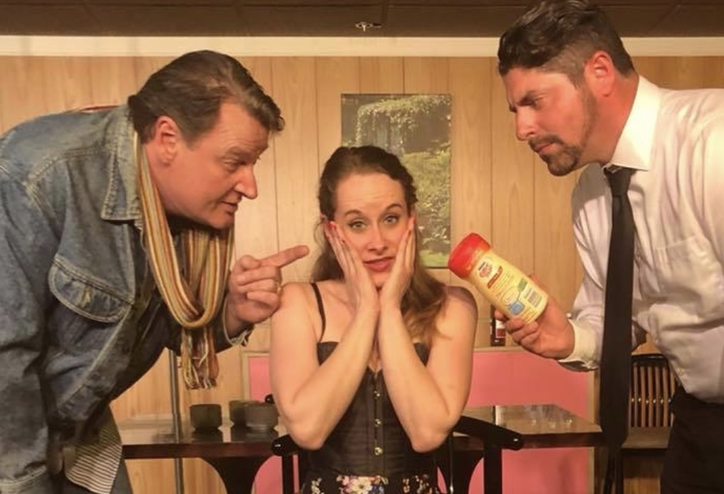 Richard Lambert, left,   Jamie Nablo and Andrew Starr are part of a fun cast in the entertaining 'Here Lies Jeremy Troy' at Desiderio's Dinner Theatre.