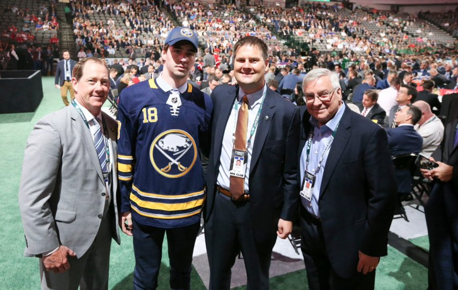 Sabres coach Phil Housley, Mattias Samuelsson, Jason Botterill and Terry Pegula pose on June 23, 2018, at the American Airlines Center in Dallas, Texas. (Jim McCoy/News file photo)