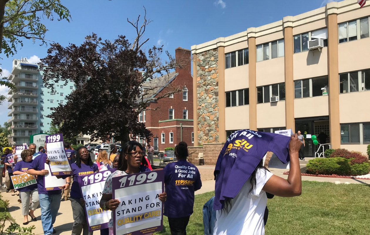 Union workers protested understaffing and unsafe conditions for residents at Emerald South Nursing and Rehabilitation Center in June. (Sharon Cantillon/News file photo)
