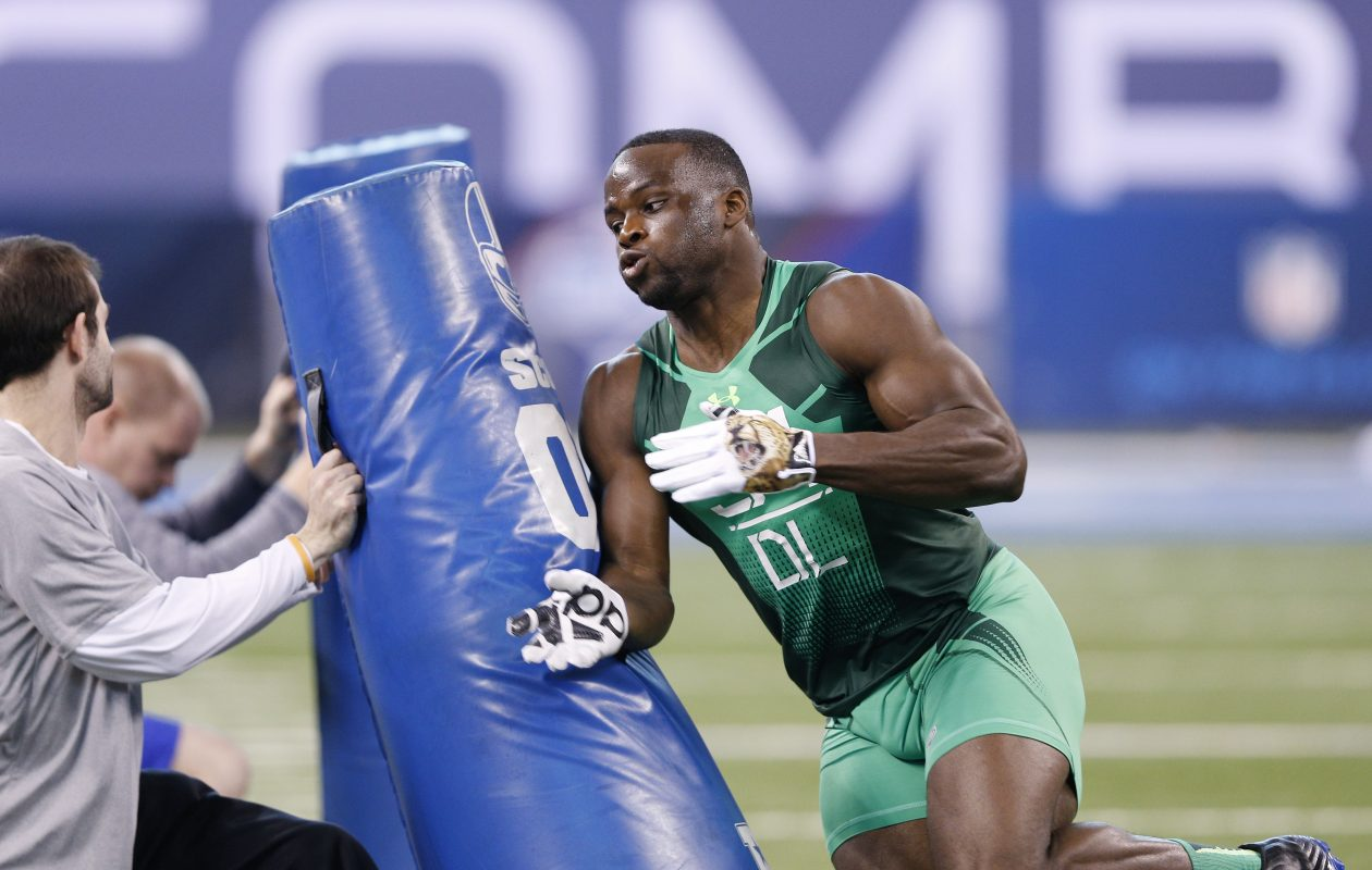 Bills defensive end Owa  Odighizuwa was a standout at the NFL Scouting Combine in 2015. (Joe Robbins/Getty Images)