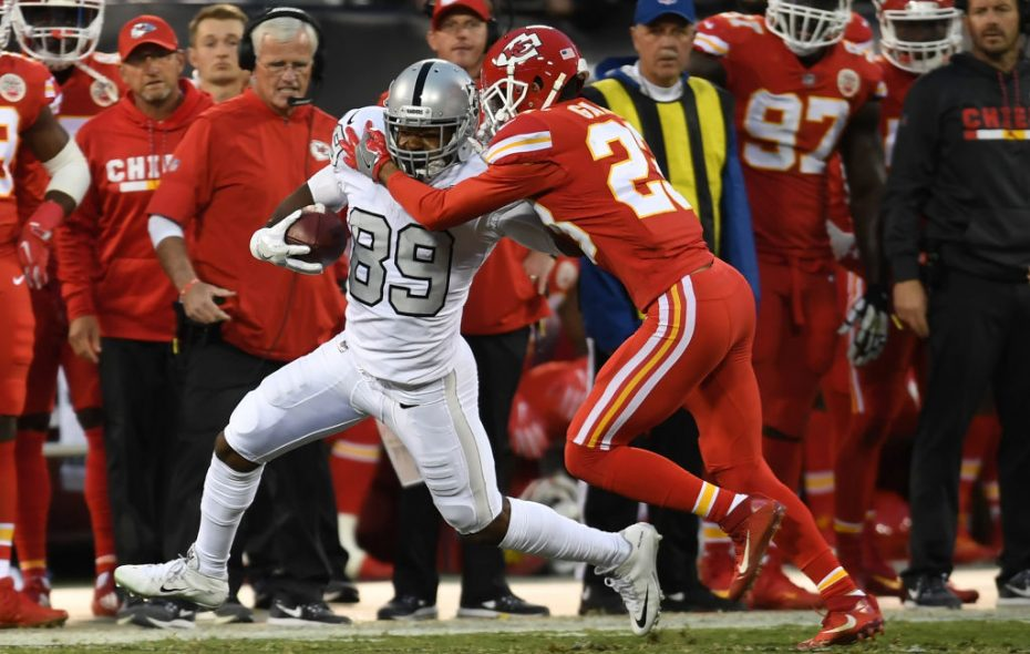 Phillip Gaines makes a tackle for the Chiefs last season.  (Getty Images)