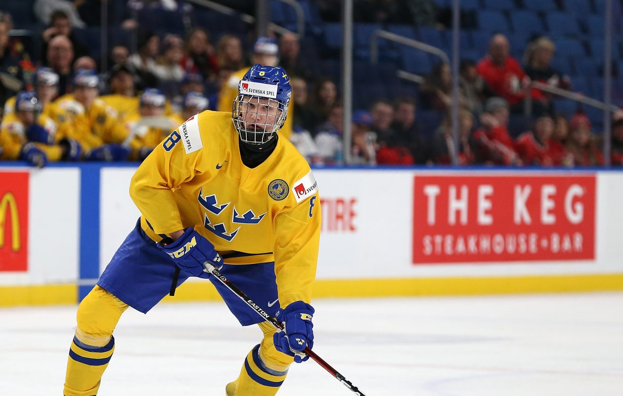 BUFFALO, NY - JANUARY 4: Rasmus Dahlin #8 of Sweden during the IIHF World Junior Championship against the United States at KeyBank Center on January 4, 2018 in Buffalo, New York. (Photo by Kevin Hoffman/Getty Images)