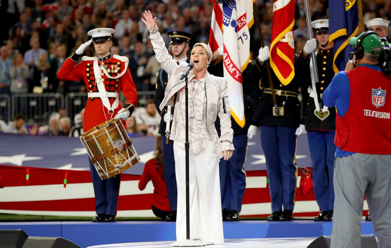 Rock star Pink sings the national anthem prior to Super Bowl LII in Minneapolis, Minnesota.  (Photo by Christopher Polk/Getty Images)