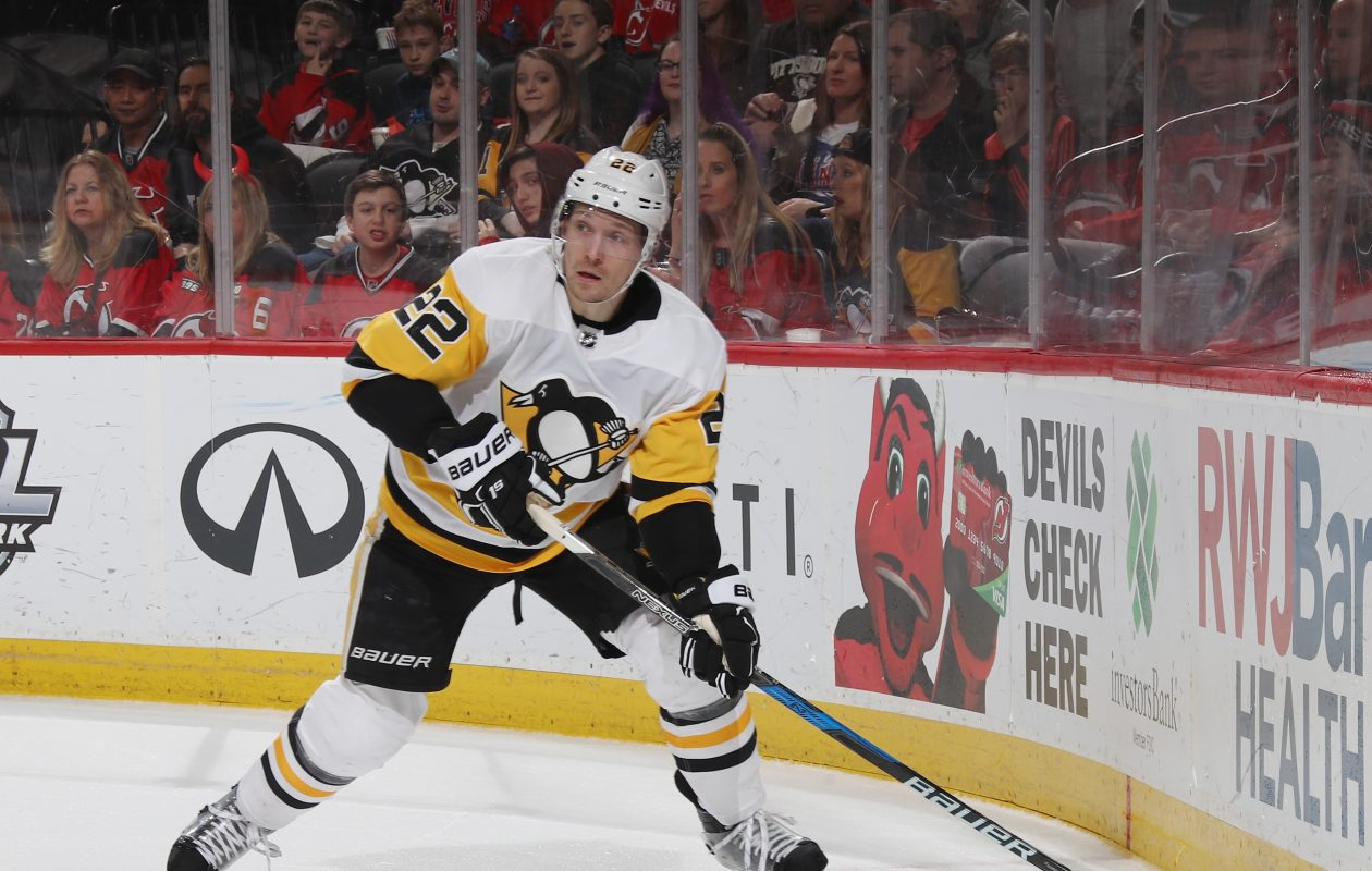NEWARK, NJ - MARCH 29: Matt Hunwick #22 of the Pittsburgh Penguins skates against the New Jersey Devils at the Prudential Center on March 29, 2018 in Newark, New Jersey. The Penguins defeated the Devils 4-3 in overtime.  (Photo by Bruce Bennett/Getty Images)