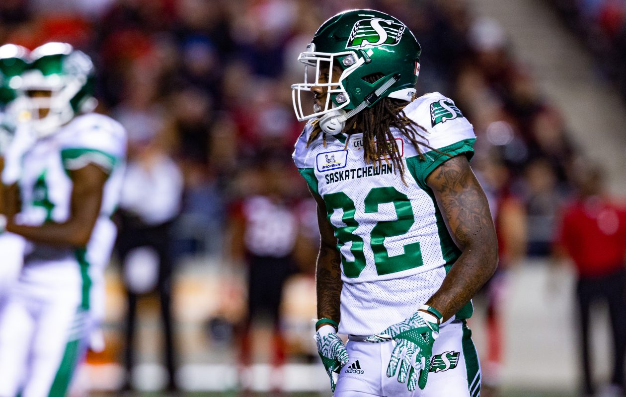 Saskatchewan Roughriders wide receiver Naaman Roosevelt lines up prior to the snap during a Canadian Football League game against Ottawa on June 21. (Getty Images)