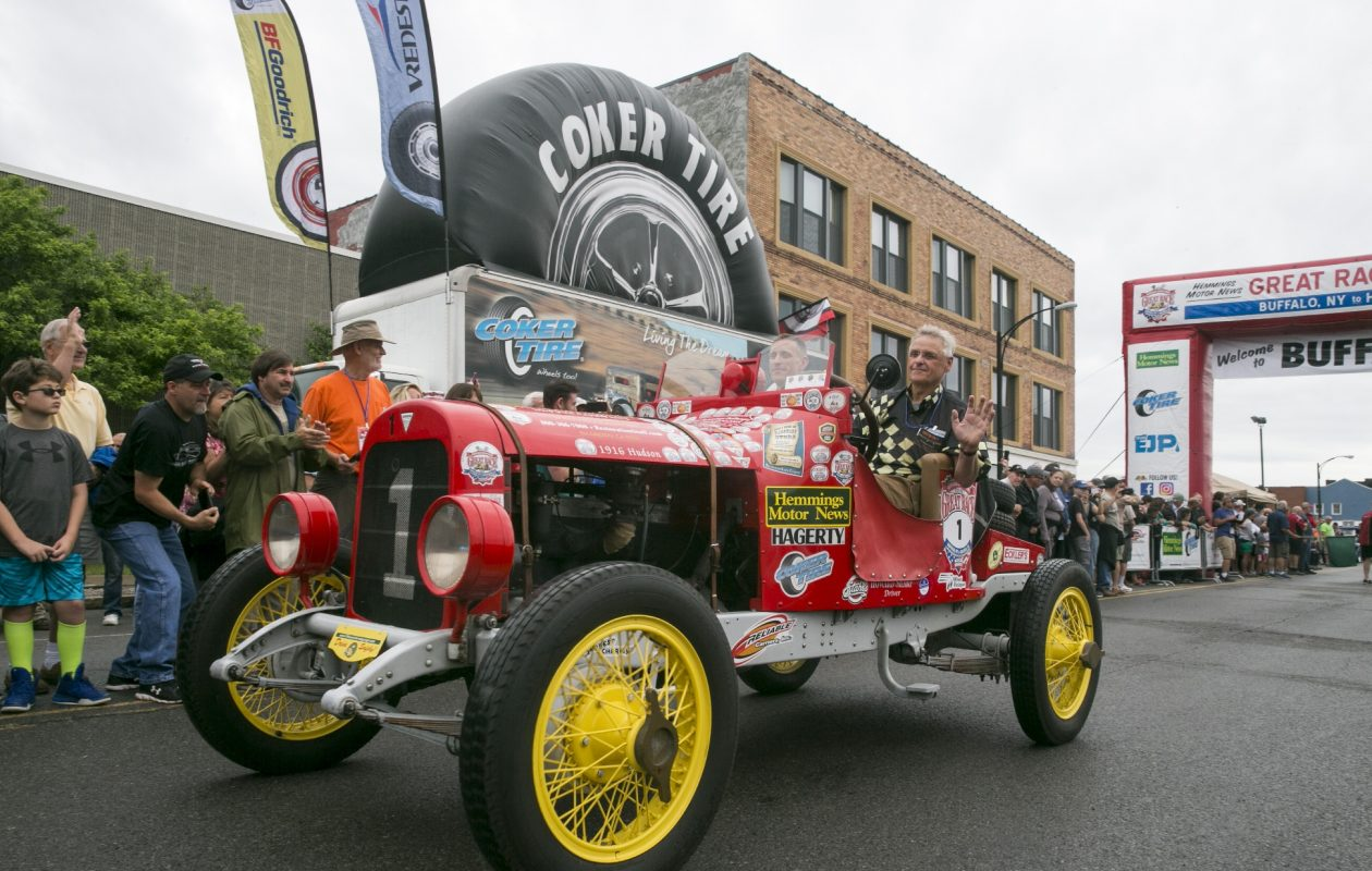 Driver Howard Sharp	and navigator Doug Sharp take off in their 	Hudson Pikes Peak Climber at the start of the 2018 Great Race on Saturday, June 23, 2018, at the Buffalo Transportation Pierce-Arrow Museum. (John Hickey/Buffalo News)