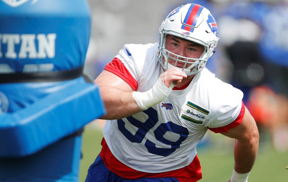 Bills rookie Harrison Phillips runs a drill. (Mark Mulville/News file photo)