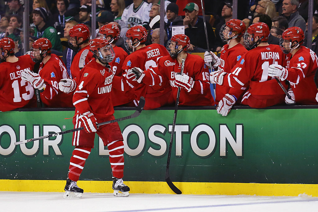 Brandon Hickey helped Boston University to two Hockey East titles in his career. (Getty Images)