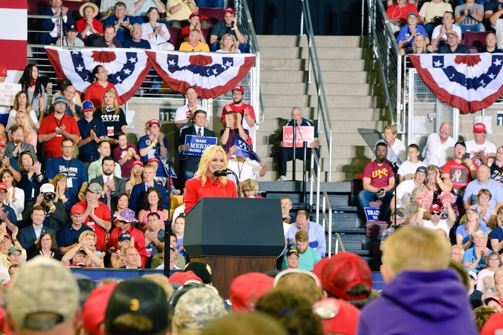 Karin Housley was one of the opening speakers Wednesday at President Trump's rally in Duluth, Minn. (Photo used with permission of Sam Sansevere)