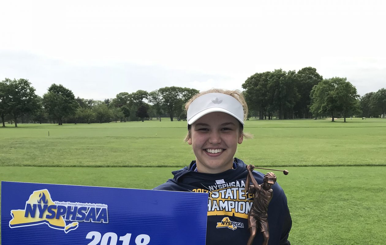 Melanie Green, a sophomore from Medina, won the NYSPHSAA girls state golf championship at Bethpage on Sunday. (Photo courtesy of NYSPHSAA)