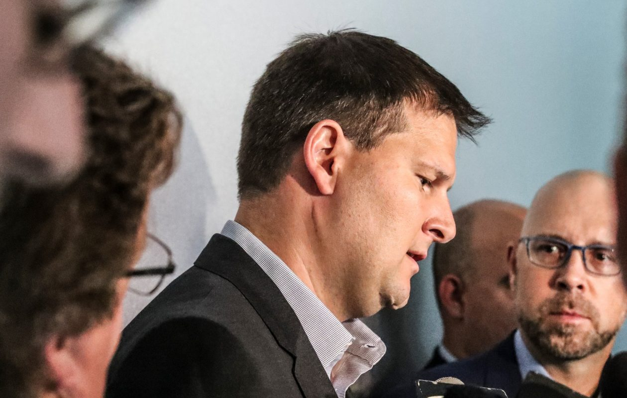 Jason Botterill meets reporters Friday in Dallas (James P. McCoy/Buffalo News).
