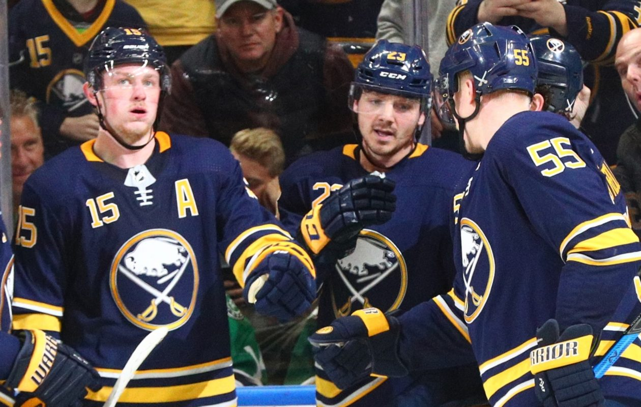The Sabres are looking to make a long-term deal with Sam Reinhart, center, after extending him a qualifying offer. (James P. McCoy/News file photo)