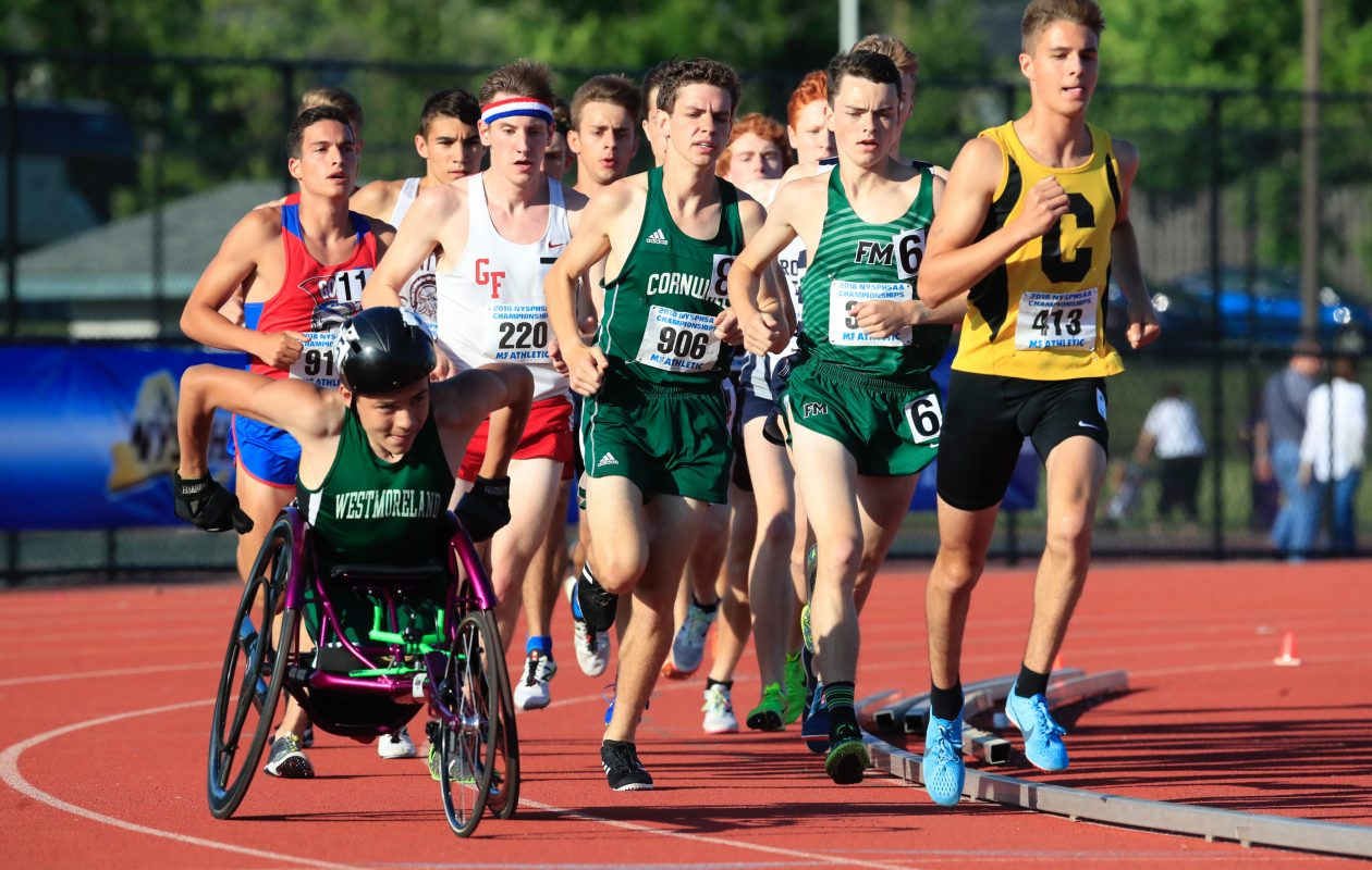 Westmoreland's Jason Robinson was the first wheelchair-bound athlete to participate in the state track and field championship meet. (Harry Scull Jr./Buffalo News)