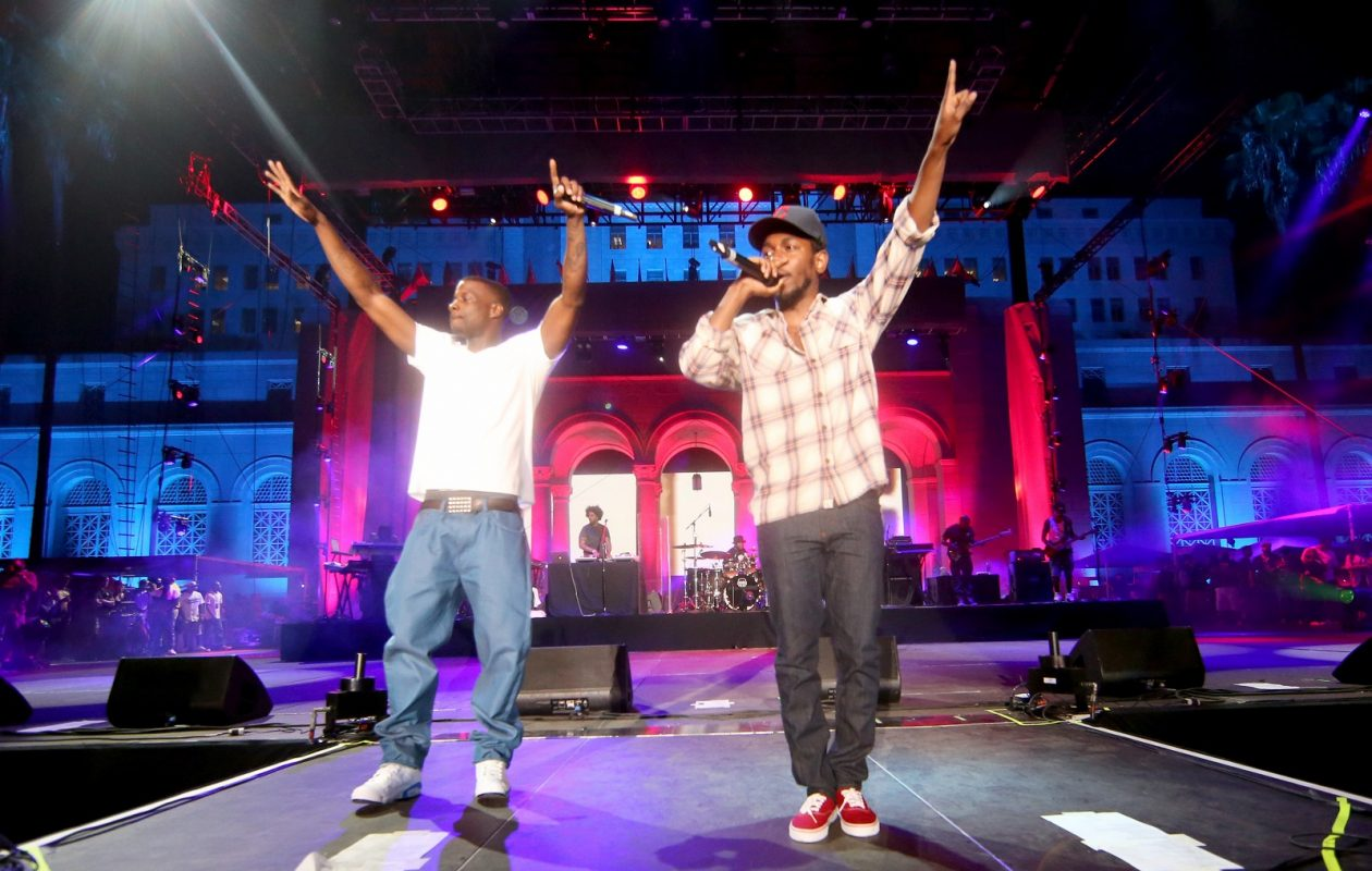 Jay Rock (l), shown here performing with label-mate Kendrick Lamar, has released a new single, the torrid 'The Bloodiest'. (Photo by Christopher Polk/Getty Images)