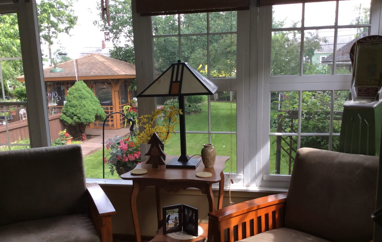 A view of the garden and gazebo from the back porch.  (Photo courtesy Jody Wienke)
