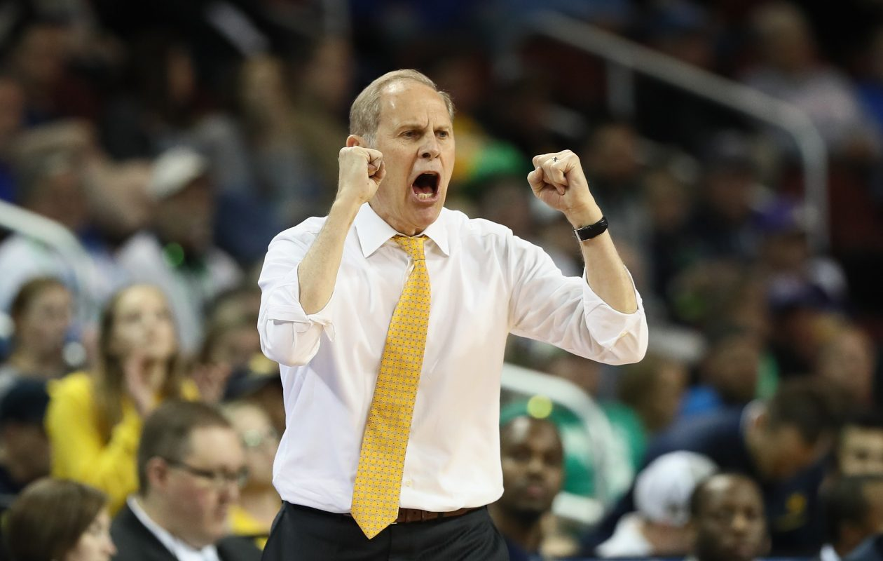 Head coach John Beilein of the Michigan Wolverines reacts as they take on the Houston Cougars in the second half during the second round of the 2018 NCAA Men's Basketball Tournament on March 17, 2018 in Wichita, Kansas.  (Jamie Squire/Getty Images)