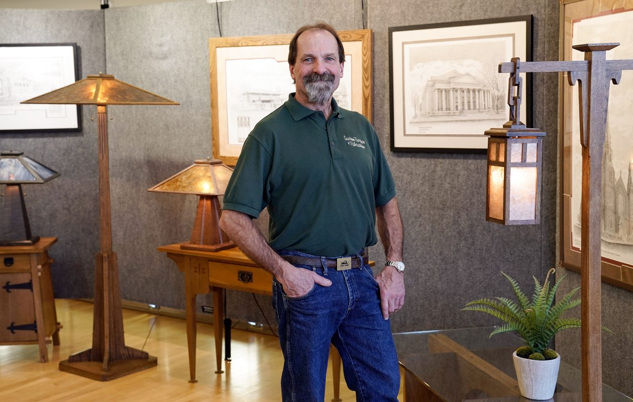 Woodworker John Thiesen, top left, creates beautiful mission-style furniture as well as Adirondack-style light fixtures. His work also includes home remodeling and restoring vintage wooden car interiors. (Dave Jarosz)