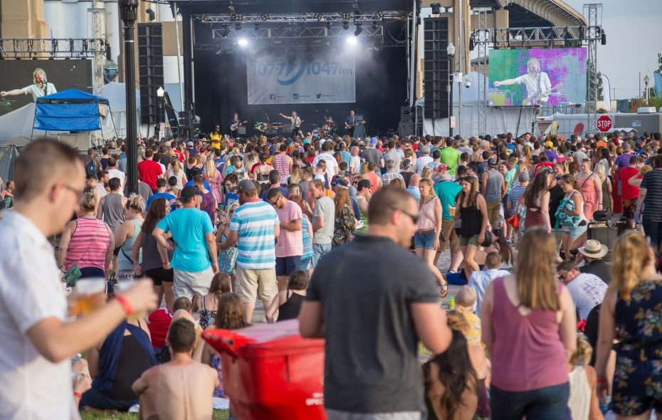 Fans watch Marian Hill perform. This was during the Kerfuffle concert at Canalside in downtown Buffalo on Saturday, June 16, 2018.  (Robert Kirkham/Buffalo News)