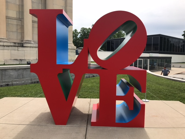Robert Indiana's iconic LOVE sculpture is on display outside the Albright-Knox Art Gallery.