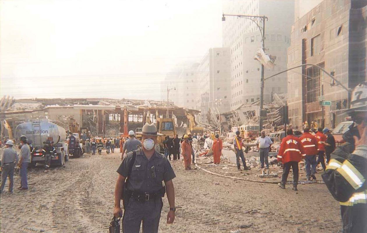 Trooper Lawrence W. Lakeman is shown at  Ground Zero in September 2001, wearing a gauze face mask. (Photo courtesy of Audra Lakeman)
