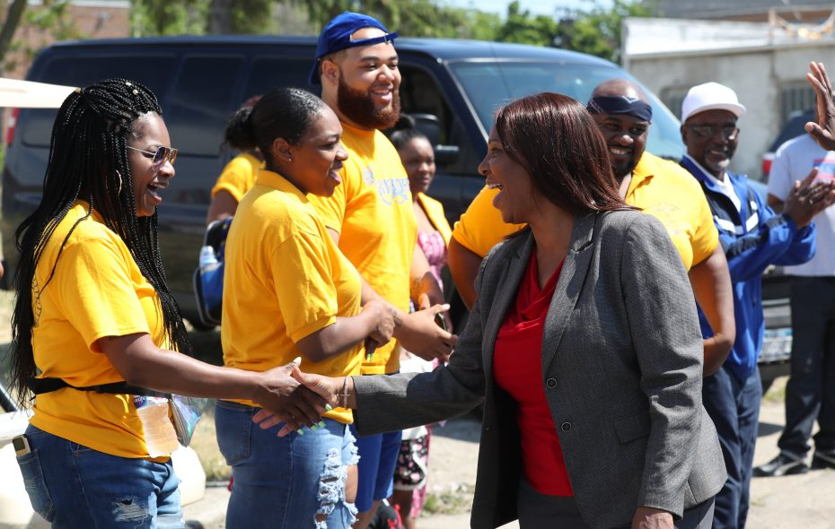 Democratic attorney general hopeful Tish James, the New York City public advocate, shakes hands along  the Juneteenth Festival parade route June 16, 2018, in Buffalo. (James P. McCoy/Buffalo News)