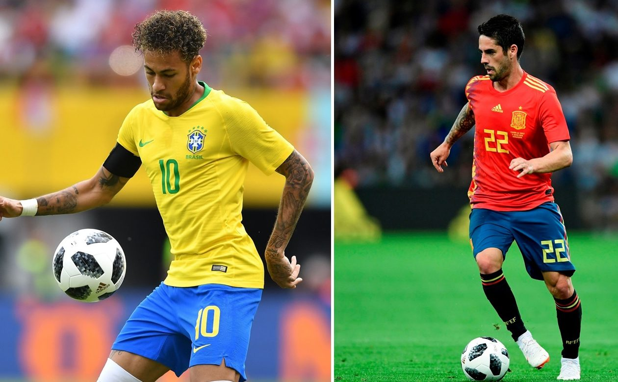 Brazil's Neymar, left, and Spain's Isco are two big stars at the World Cup, but their countries seem poised to make runs. (Getty Images)