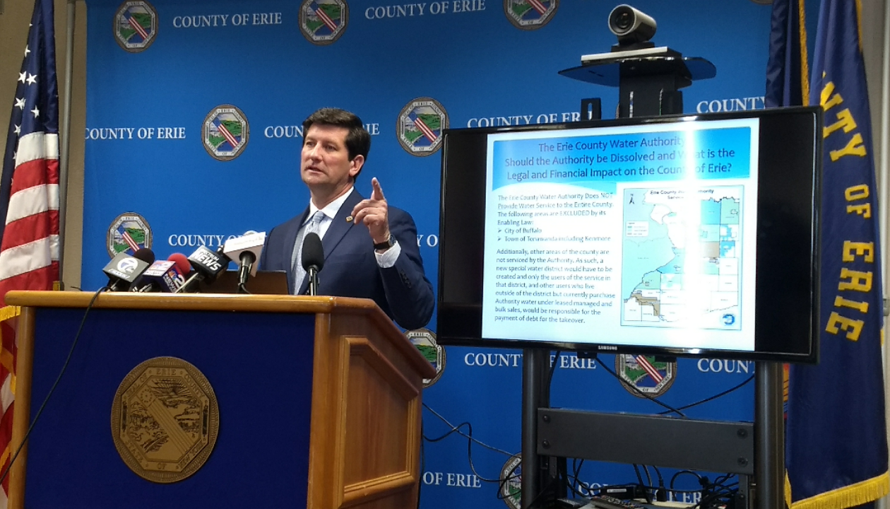 County Executive Mark Poloncarz lays out his proposals for Water Authority reform and defends Chairman Schad. (Sandra Tan/The Buffalo News)