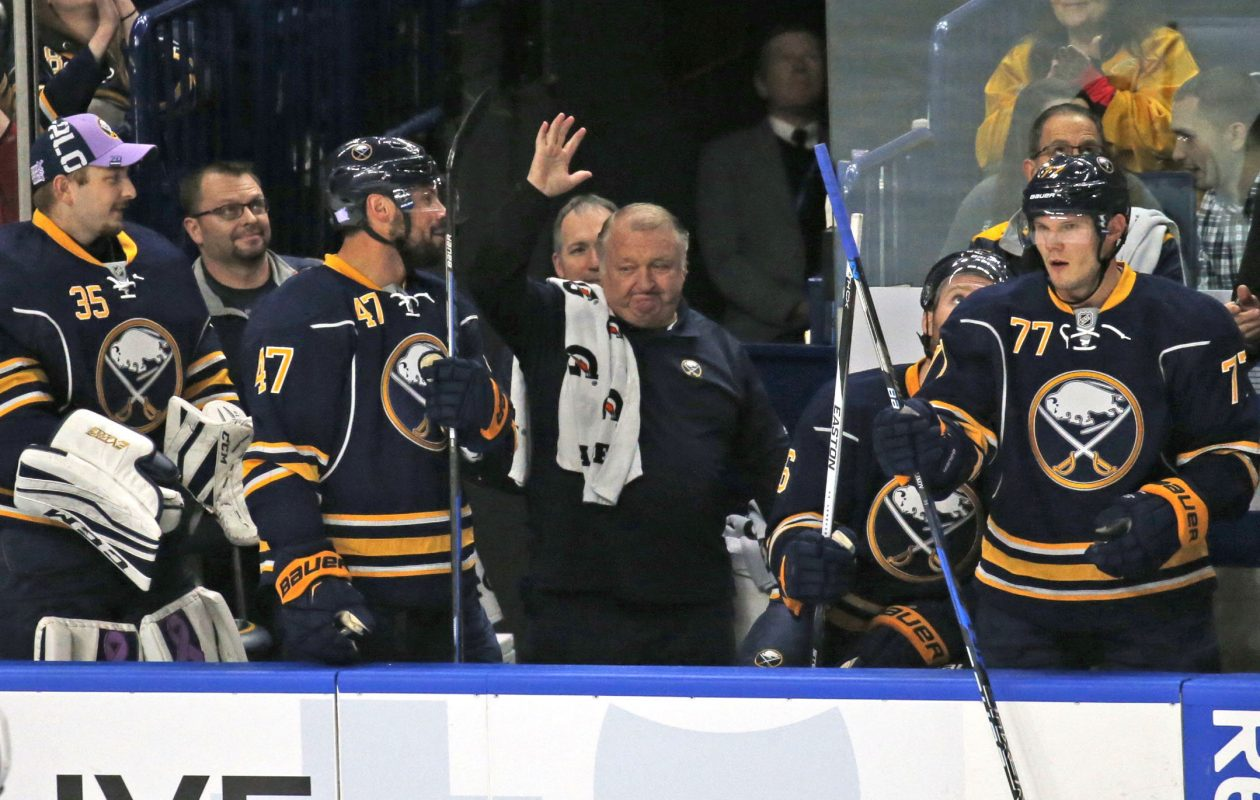 Rip Simonick waves to the fans celebrating his 3,500th game on Oct. 27, 2016, in KeyBank Center. (Robert Kirkham/Buffalo News file photo)