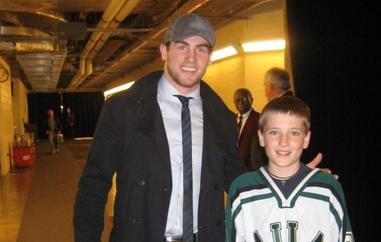 Sabres player Ryan O'Reilly, left, then with the Colorado Avalanche, poses with a young Ryan O'Reilly, who now is a rising freshman hockey player at the University of Denver. (Provided photo)