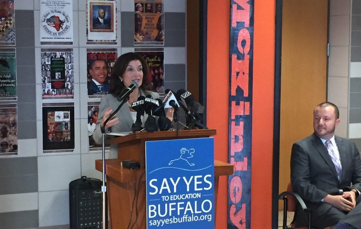 Lt. Gov. Kathy Hochul, at McKinley High School in Buffalo, announced a $10 million state grant to Say Yes Buffalo. (Jay Rey/Buffalo News)