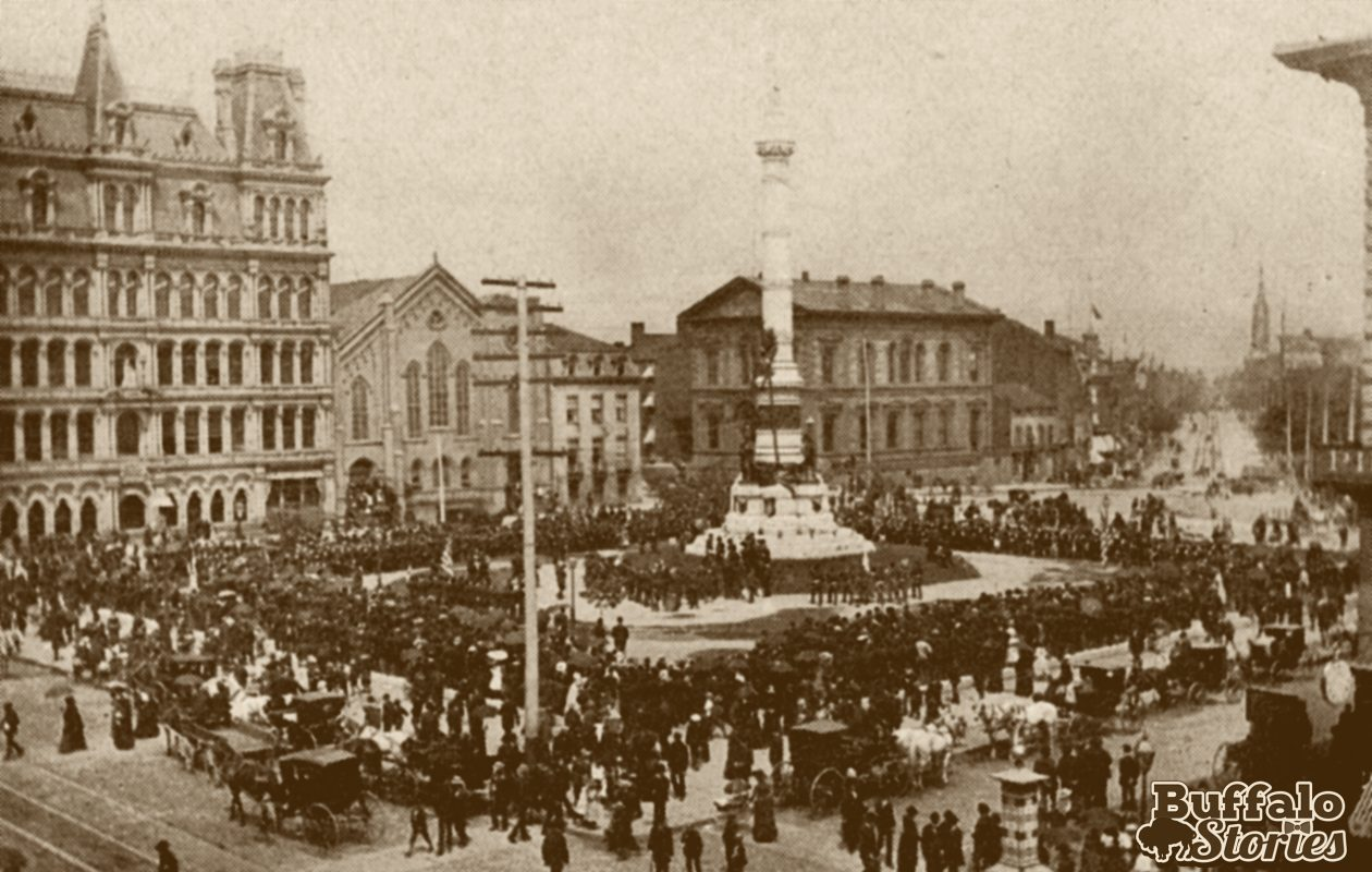 Dedication of Soldiers & Sailors monument in Lafayette Square, 1882. (Buffalo Stories archives)