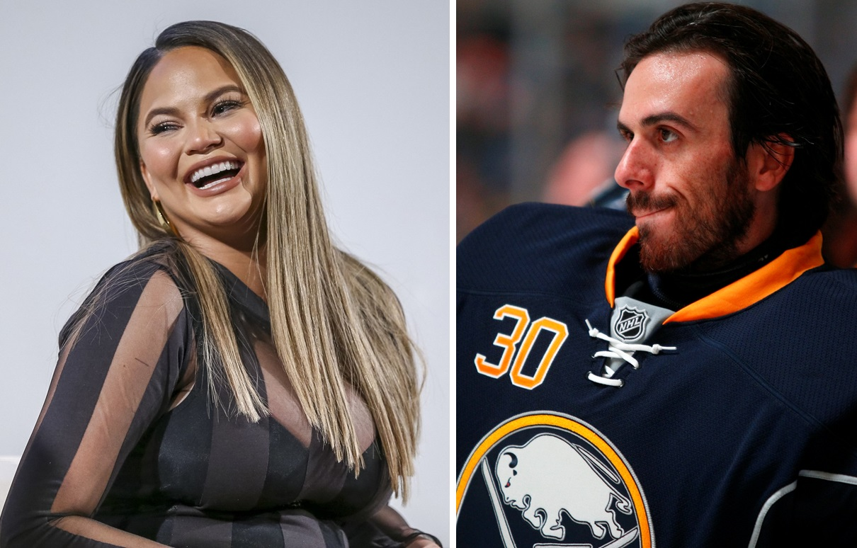 Chrissy Teigen, left, and former Sabres goalie Ryan Miller traded barbs on Twitter. (Rich Polk/Getty Images; Harry Scull Jr./News file photo)