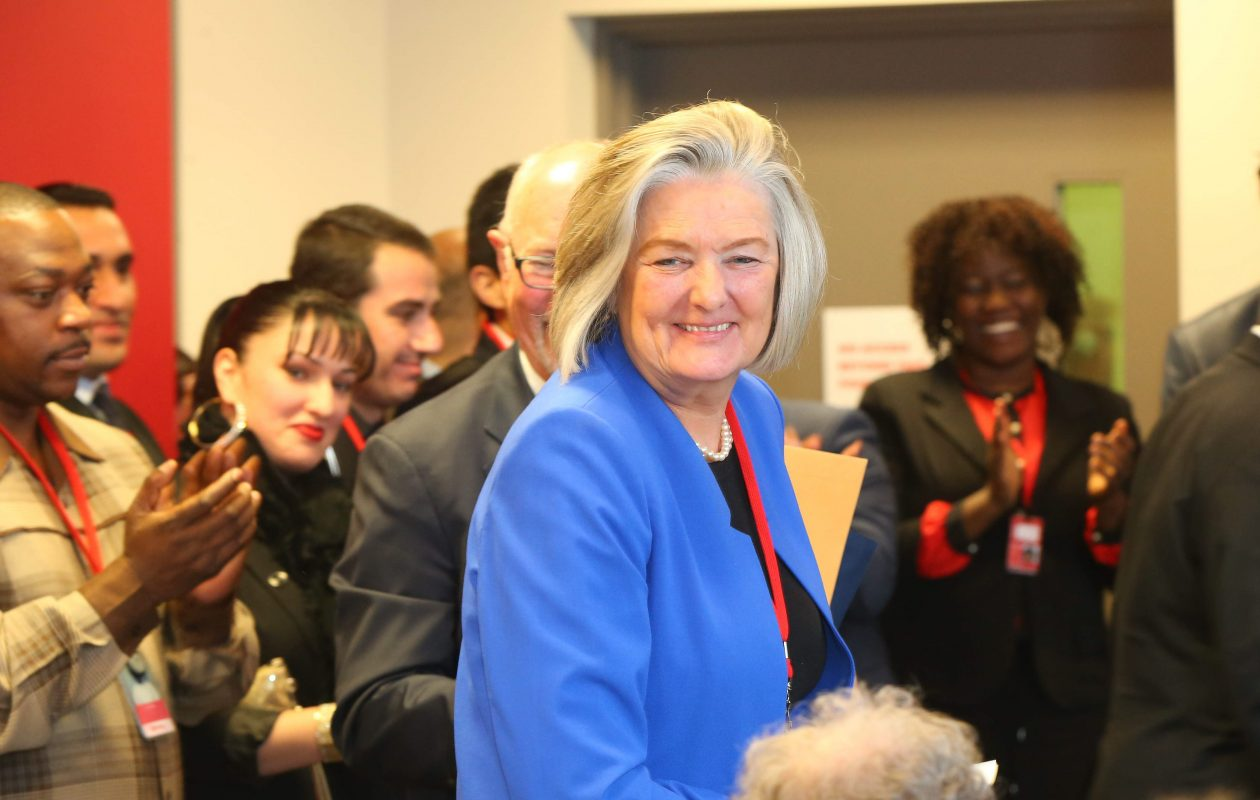 Bak USA President Ulla Bak during the official grand opening of the company's tablet and laptop manufacturing facility in Buffalo in 2015. She said last week's failure to pay the company's salaried employees was due to a late payment from a customer. (Mark Mulville/News file photo)