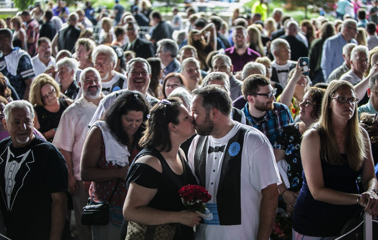 Jason and Merina Richardson of Toronto were part of the attempt to break the Guinness World Record for the Largest Marriage Vow Renewal Ceremony on Saturday, June 23, 2018, at the Seneca Niagara Resort and Casino in Niagara Falls. (Shuran Huang/Buffalo News)
