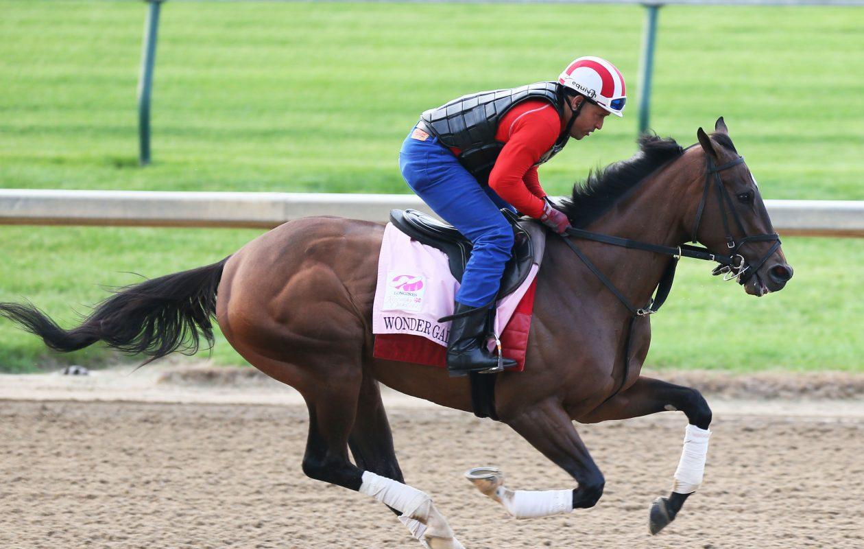 Wonder Gadot gallops days before the Kentucky Oaks at Churchill Downs. Photo Credit: Coady Photography/Churchill Downs.