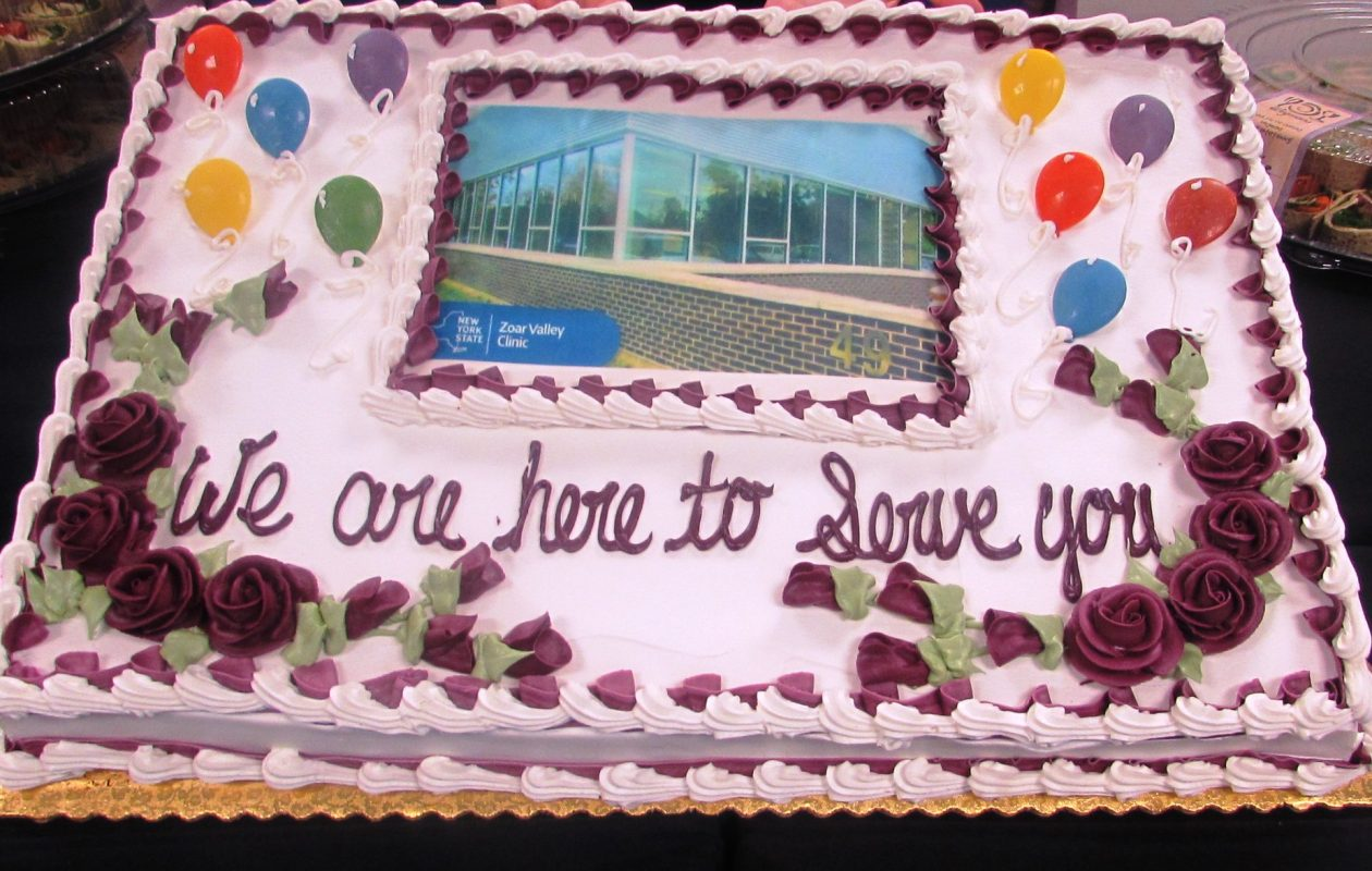 The formal opening Wednesday of the Zoar Valley Clinic in Gowanda included a cake.