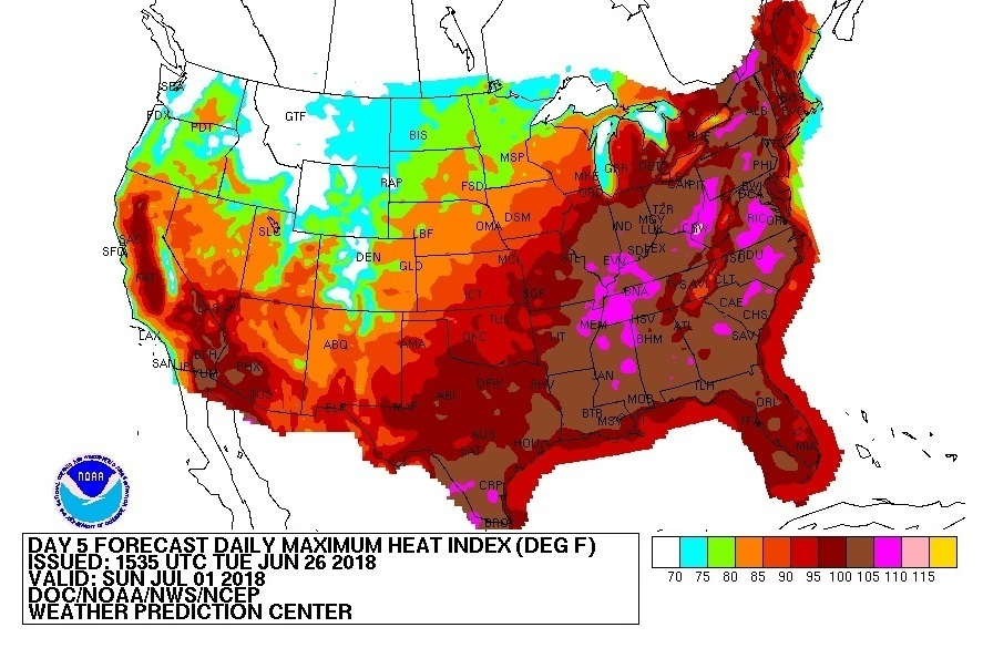 Heat indices over 100 degrees are expected across much of the eastern United States this weekend. (Weather Prediction Center)