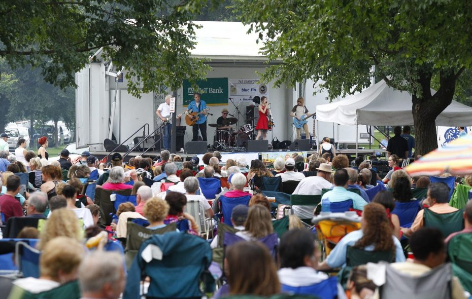 The lawn in Bidwell Park is often crowded during the free summer concert series Picnic in the Parkway, beginning June 19. (Harry Scull Jr./News file photo)